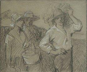 Otto Franz Scholderer: Heimkehrende Landarbeiter, drei Figuren