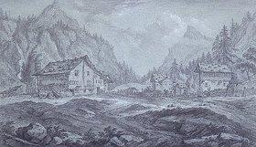 Franz Schütz: Gebirgstal mit Tannenwaldung und Bauernhäusern