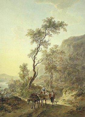 Abraham van Strij: Italianisierende Landschaft mit Hirtenpaar auf einem Feldweg