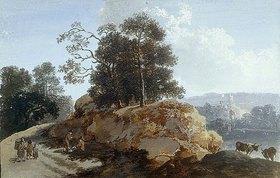 Johann Friedrich Alexander Thiele: Baumpartie mit Felsen, rechts zwei Kühe und Blick auf einen See, links auf dem Weg drei Wanderer und zwei Rastende