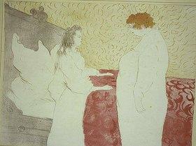 Henri de Toulouse-Lautrec: Femme au lit, profil - Au petit lever / Frau im Bett, Profilansicht - Bei der morgendlichen Aufwartung