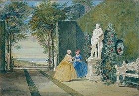 Cornelis Troost: Parkansicht mit zwei jungen Damen neben einer Herkulesstatue