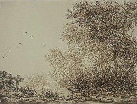 Adriaen Verboom: Landschaft mit Bäumen und Weidegatter