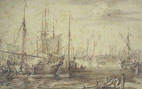 Cornelis Claesz van Wieringen: Hafenansicht mit Schiffswerft