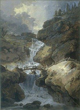 Heinrich (Johann Heinrich) Wuest: Wasserfall in einer Felsenschlucht, über die ein Holzsteg führt, links ein heranziehendes Gewitter