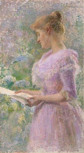 Marie Bertuch: Frau im Garten einen Brief lesend