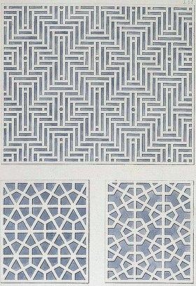 Friedrich Maximilian Hessemer: Luftfenster aus Holzstäbchen an verschiedenen Privatgebäuden zu Kairo 'Arabische und alt-italienische Bau-Verzierungen', Entwurf für Tafel I