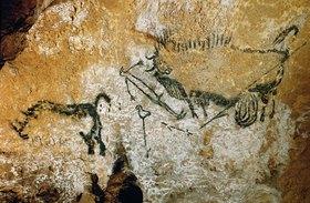Unbekannter Künstler: Höhle von Lascaux 17000 v. Chr. Gesamtansicht der Szene des Schachtes