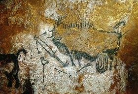 Unbekannter Künstler: Höhle von Lascaux 17000 v. Chr. Verwundeter Bison, Länge 110 cm, ausgestreckter Mensch und Stange mit Vogel