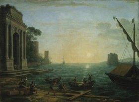 Claude Lorrain (Gellée): Ein Seehafen bei aufgehender Sonne