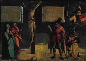 Meister von Messkirch: Kreuzigung Christi, mit Johannes und Maria, sowie einem Stifter