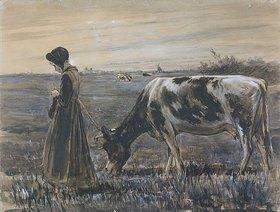 Max Liebermann: Mädchen mit Kuh