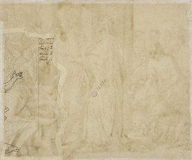 Julius Schnorr von Carolsfeld: Verso: Fragment einer Vorzeichnung zu 'Davids Gebet'