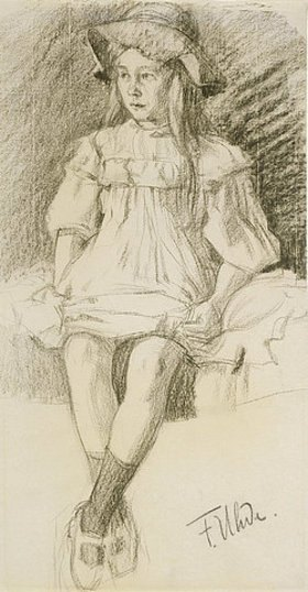 Fritz von Uhde: Sitzendes Mädchen mit Hut