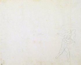 Joseph Ritter von Führich: Verso: Figurenstudie zu den drei Figuren der Heiden