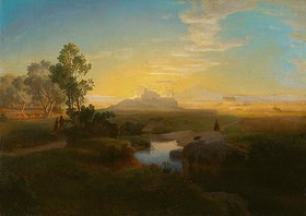 Oswald Achenbach: Abendliche Landschaft mit einem im Gegenlicht liegenden Felsmassiv. 1846 (?)