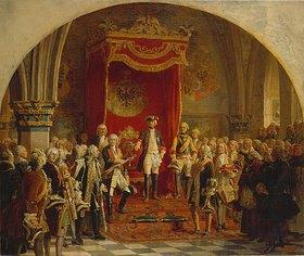 Wilhelm Camphausen: Die schlesischen Stände huldigen Friedrich dem Großen in Breslau 1741. Entwurfskizze zum Wandgemälde in der Herrscherhalle des Zeughauses