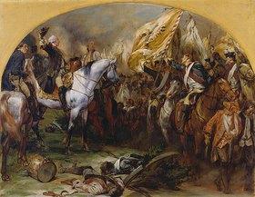 Peter Janssen: Die Siegesparade der preußischen Truppen vor Friedrich dem Großen nach der Schlacht bei Hohenfriedberg (Studie)