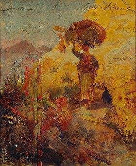 Oswald Achenbach: Studie einer weiblichen Figur in südlicher Landschaft