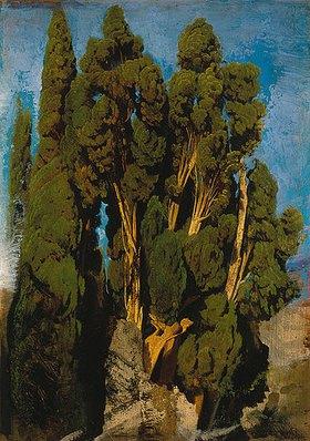 Oswald Achenbach: Zypressen im Park der Villa d'Este in Tivoli