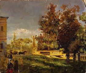 Oswald Achenbach: Im Park der Villa Borghese (Studie)