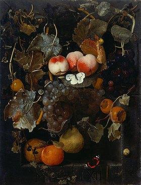 Adriaen van der Spelt: Früchtestillleben mit Schmetterlingen und Schnecken in einer Nische