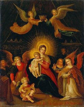 Cornelis de Baellieur d.Ä.: Madonna mit Kind, von Engeln bekrönt und von musizierenden Engeln umgeben