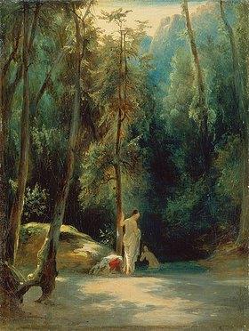 Carl Blechen: Badende Frauen im Park von Terni. Vor 1837