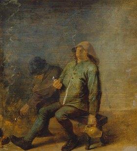 Adriaen Brouwer: Der Geruch (zwei rauchende Bauern am Kamin)