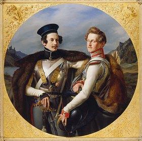 Friedrich Wilhelm von Schadow: Das Doppelbildnis der Prinzen Friedrich Wilhelm Ludwig von Preußen (1794-1863) und Wilhelm zu Solms-Braunfels (1801-1868) in Kürassieruniform