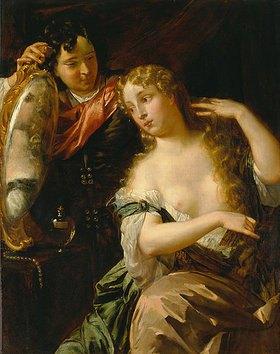 Victor Honoré Janssens: Sich kämmende Frau vor einem von einem Jungen gehaltenen Spiegel - Toilette der Venus