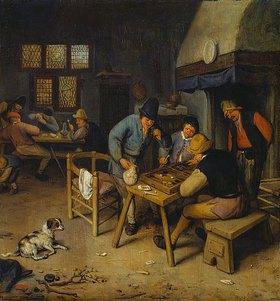 Cornelis Dusart: Wirtshausinterieur mit Tricktrack und Karten spielenden Bauern