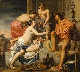Caesar Boëtius Everdingen: Der thronende Bacchus - Nymphen reichen Bacchus Wein und Früchte. 1658/nach