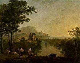 Richard Wilson: Weite südliche Küstenlandschaft bei Abend. 1770/1780. Lwd., 139,6 x 184,3 cm