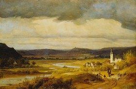Friedrich Heunert: Deutsche Landschaft (Das Lennetal bei Hohensyburg mit der Kirche von Elsey)