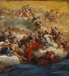 Giovanni Battista (gen. Baccicio) Gaulli: Heilige und Engel auf Wolken (Entwurf für das Kuppelfresko der Kirche Il Gesù in Rom)