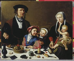 Maarten van Heemskerck: Pieter Jan Foppeszoon und seine Familie. Vor