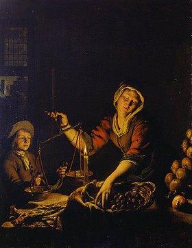Willem van Mieris: Ein Junge kauft Esskastanien bei einer Gemüseverkäuferin bei Kerzenlicht