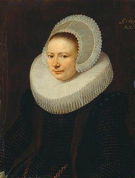 Paulus Moreelse: Bildnis einer Frau mit Diademhaube und Mühlsteinkragen, halbe Figur nach links