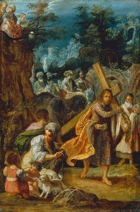 Adam Elsheimer: Hausaltar der Kreuzlegende. Heraklius trägt das Kreuz nach Jerusalem zurück
