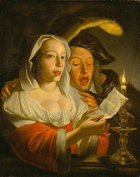 Jan Vermeer van Utrecht: Singendes Paar bei Kerzenlicht