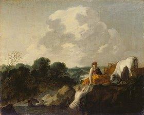 Moyses van Uyttenbroeck: Landschaft mit Hirtin und Nymphe