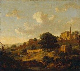 Jan van der Heyden: Landschaft mit einer befestigten Stadt am Hang