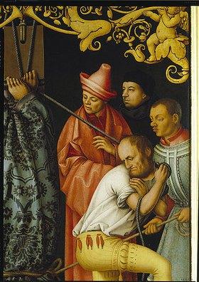Hans Holbein d.Ä.: Katharinenaltar, linker Flügel (außen ?): Martyrium des heiligen Petrus. 1512  Detail