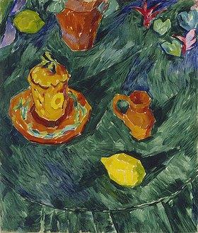 Walter Ophey: Stillleben mit gelben Töpfen und Zitrone