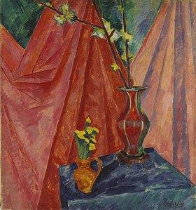 Walter Ophey: Stillleben mit Huflattich und Kirschblüten