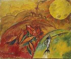 Walter Ophey: Rote Kähne mit Mond. Nicht datiert