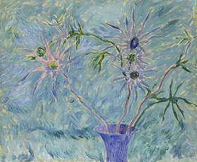 Walter Ophey: Blumen in blauer Vase
