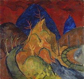 Walter Ophey: Berglandschaft mit Gleis und Straße