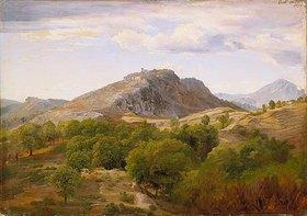 Johann Wilhelm Schirmer: Ansicht von Civitella - Blick gegen Norden auf Civitella, aus östlicher Richtung